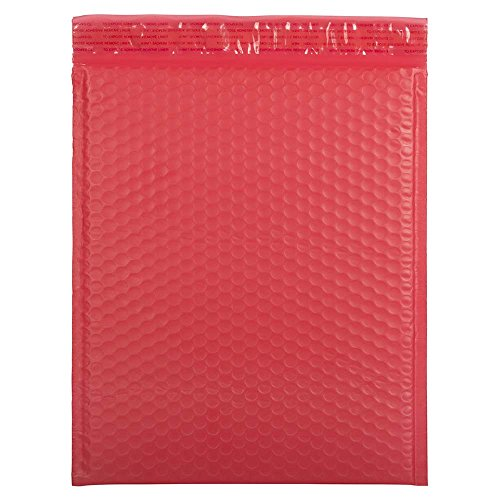 JAM PAPER Bubble Padded Mailers with Self-Adhesive Closure - 12 x 15 1/2 - Red Matte - 12/Pack