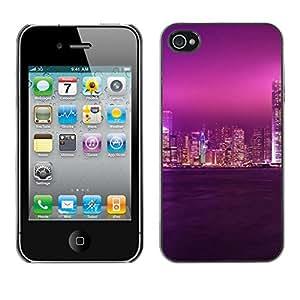 Stuss Case / Funda Carcasa protectora - PURPLE GLOW CIUDAD DEL CIELO - iPhone 4 / 4S