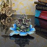 eCraftIndia Metal Lord Ganesha Statue on Sky Blue Leaf (LxWxH - 4INx4INx3IN)