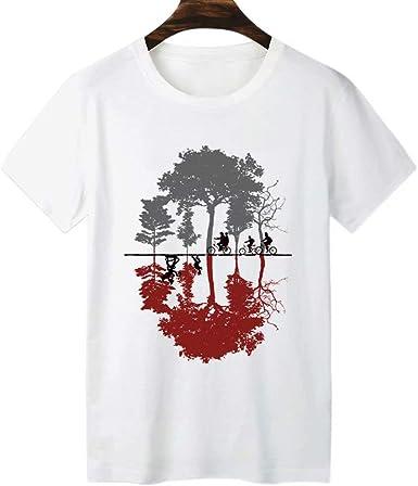 Camiseta con Estampado 2D Camiseta de Manga Corta O-Cuello Tops Camisas de Verano Camiseta de algodón para Adultos Cosas extrañas Póster de película de Netflix Camiseta Negra Unisex: Amazon.es: Ropa y accesorios