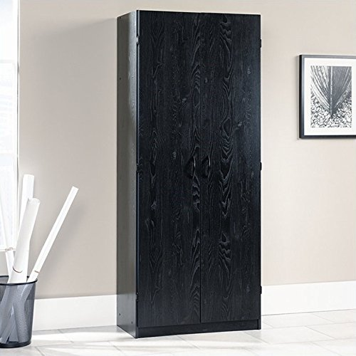 sauder 410814 storage cabinet ebony ash - Bedroom Storage Cabinets