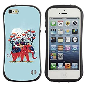 Paccase / Suave TPU GEL Caso Carcasa de Protección Funda para - Blue Elephant Nature Moon Animal - Apple Iphone 5 / 5S