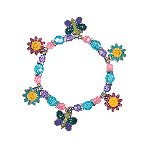 Butterfly & Daisy Charm Bracelet Craft (1 dz) - NEW - Charm Bracelet Craft Kit
