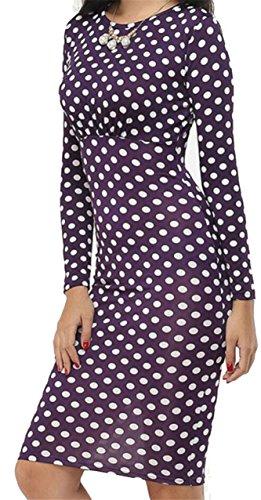Jaycargogo Mode Des Femmes Autour Du Cou Bandage À Manches Longues Robe Moulante Violette