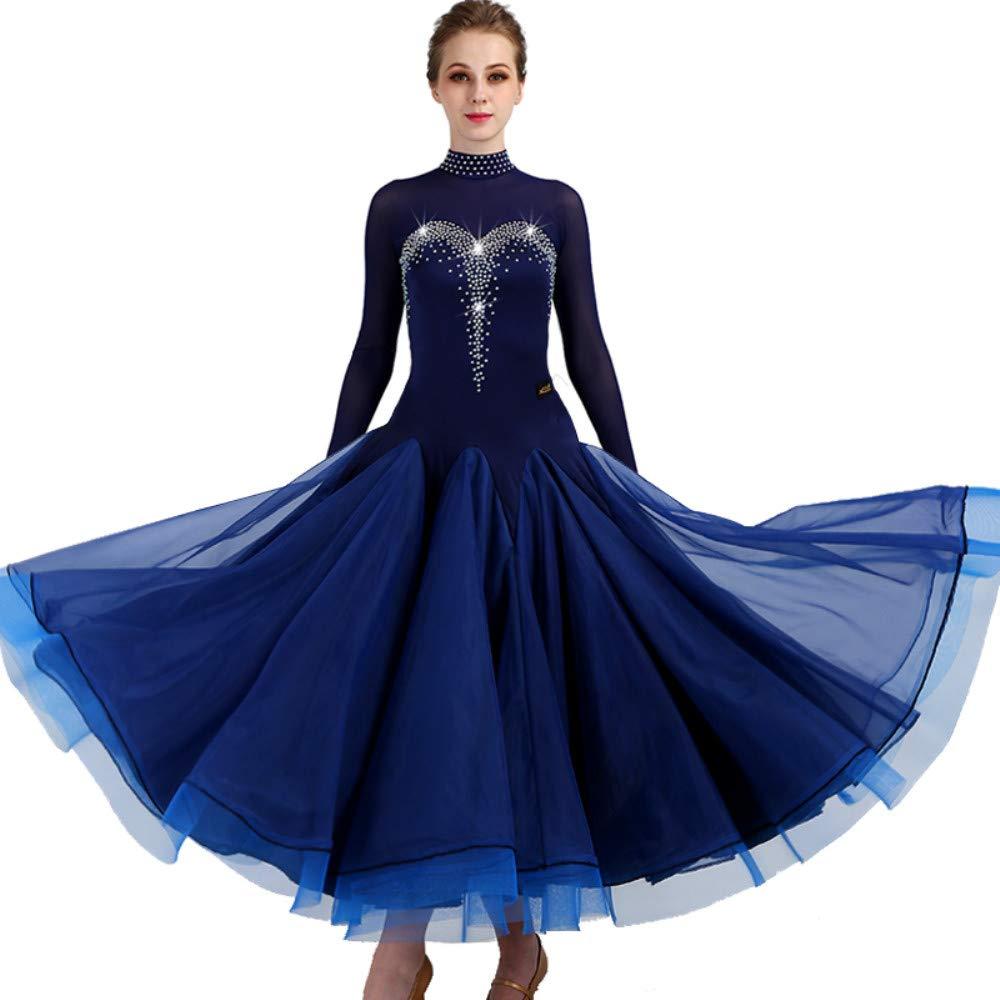 女性モダンワルツタンゴパフォーマンスコスチューム滑らかな全国標準社交ダンスドレスコンペティションダンスの衣装グレートスイング Navy青 Small