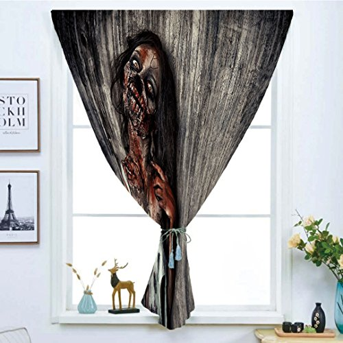 Blackout Window Curtain,Free Punching Magic Stickers Curtain,Zombie Decor,Angry Dead Woman Sacrifice Fantasy Mystic Night Halloween Image Decorative,Dark Taupe Peach Red,Paste style,for Living Room