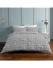 Sleepdown ljusgrått påslakanset med örngott, rynkade veck, grå passpoal, lättskött, mjukt, för enkelsäng (135 x 200 cm), bomullsblandning