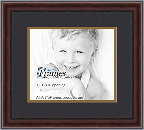 Mahogany Finished Wood Frame (ArtToFrames Diploma Frame Mahogany and Burgundy With Beaded Lip with 1 - 10x12 Opening, Double-Multimat-1393-89/596-N9590)