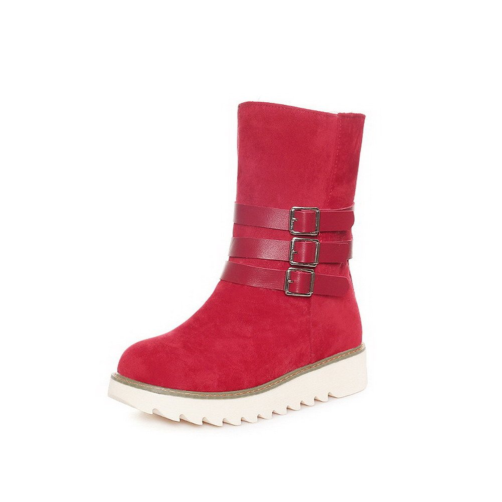 AllhqFashion Women's Pull-on Low-Heels Imitated Suede Solid Low-top Snow-Boots, Red, 39