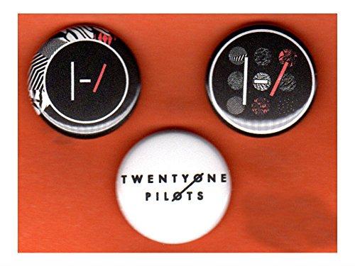 Set of three 1' Twenty One Pilots pins buttons 21 band blurryface version 2