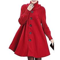 BIUBIU Womens Long Sleeve Cowl Neck Button Down Loose Trendy Sweater Dress