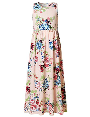 Vintage Floral Print Maxi Dresses for Little Girls with Pocket]()