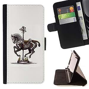 Momo Phone Case / Flip Funda de Cuero Case Cover - Pintura Caballo Esqueleto de arte de época - LG G4c Curve H522Y (G4 MINI), NOT FOR LG G4
