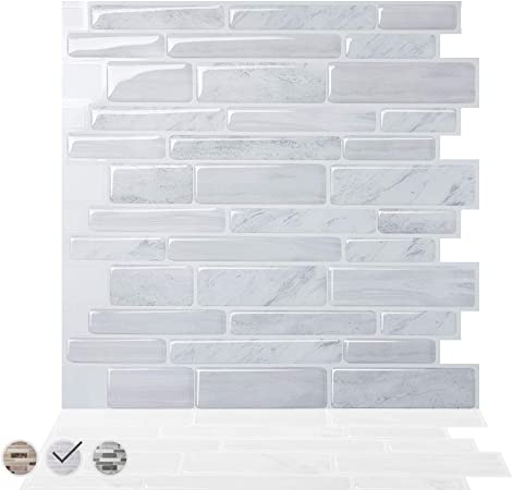 Tic Tac Tiles Peel And Stick Kitchen Tile Stickers Splashback Self Adhesive Tiles Polito White Marble Pack Of 10 Tiles 30 Cm X 30 Cm Amazon Co Uk Kitchen Home