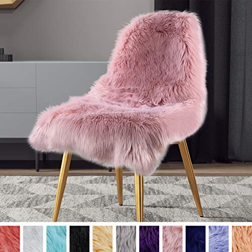 LOCHAS Silky Soft Faux Fur Rug Sheepskin Throw Chair Sofa Cover for Bedroom 2'x3', Fluffy Bedside Area Rugs Floor Carpet, Machine Washable, Pink (Faux Fur Rug Small)