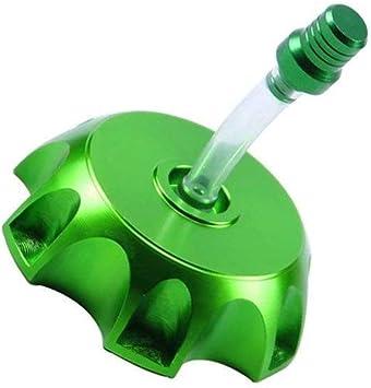 Green QWORK CNC Aluminum Gas Fuel Tank Cap With Breather Valve for 50cc 70cc 90cc 110cc 125cc 140cc 150cc 160cc Motorized Bicycle Pit Dirt Bike