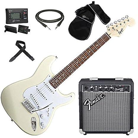 FENDER Squier Stratocaster BULLET ATW SLV guitarra eléctrica Amplificador Bolso cambiador incluye afinador unidades: Amazon.es: Instrumentos musicales