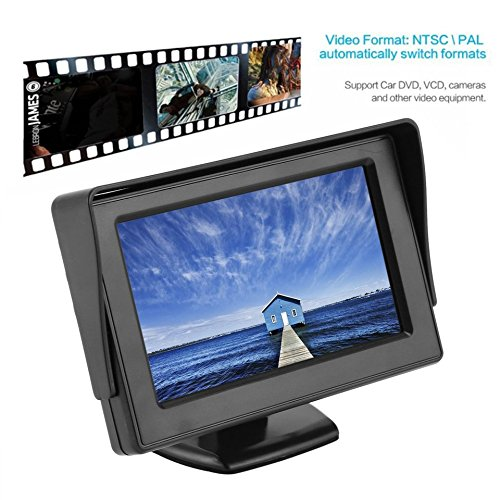 Baynne 4.3 Inch TFT LCD Monitor Car Rearview Display for Car VCD/DVD/GPS/Camera(Color:Black)