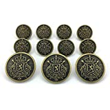 "MetalBlazerButtons.com Brand - VINTAGE BRASS - HERALDIC LION CREST - (11-Button, Single Breasted) METAL BLAZER BUTTON SET - 7/8"" & 5/8"" BUTTONS"