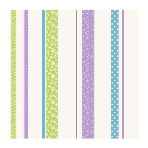 - York Wallcoverings JE3580SMP Friends Forever Patterned Stripe 8-Inch x 10-Inch Wallpaper Memo Sample, Green/Purple/Blue