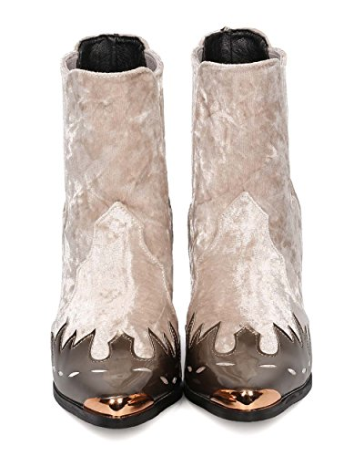 HJ88 Champagne Toe Pointy Bootie Pattern ROBBIN Mix Media Mixed Cowboy Flame Women CAPE Media qUPwXvB