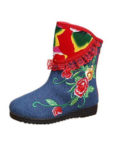 Price comparison product image Tianrui Crown New Girls Midcalf Flower Embroidery Winter Boots Shoes (Toddler/Little Kid/Big Kid)