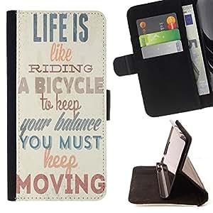 King Case - FOR HTC One M8 - life is like riding - Prima caja de la PU billetera de cuero con ranuras para tarjetas, efectivo Compartimiento desmontable y correa para la mu?eca