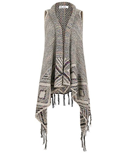 DRESSOLE Women Sleeveless Sweater Coat Wool Tassels Cardigan COLOR L/XL
