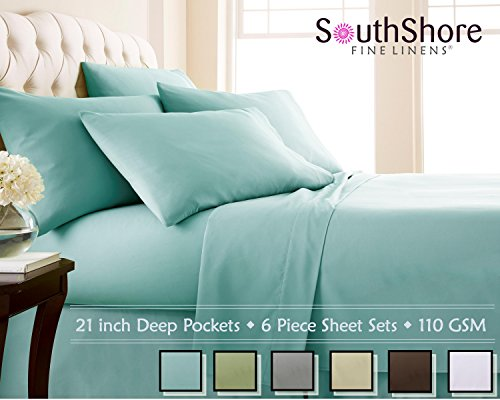 Southshore Fine Linens 6 Piece - Extra Deep Pocket Sheet Set - SKY BLUE - King