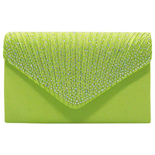 Women Handbag Pleated Envelope Clutch Satin Rhinestone Apple Classic Bag Cckuu Silver Green Evening zwSqdxzT