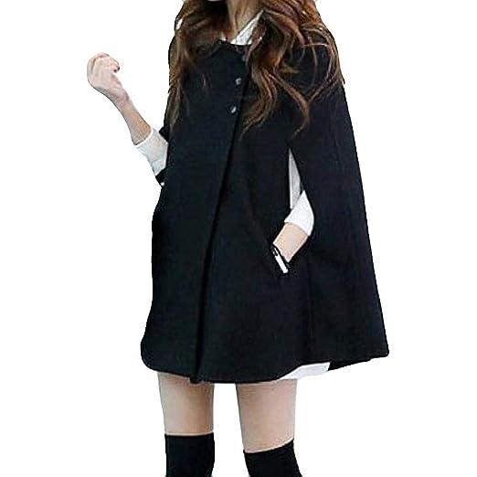 aliveGOT Womens Cape Poncho Coat Fall Winter Soft Fleece Open Front Button Coat (S)