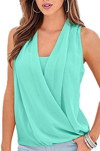 Camisas acanalada de sobrepelliz elegante de las mujeres Green