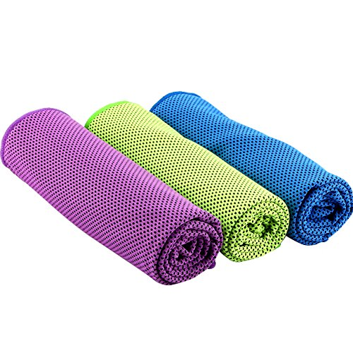 Noigin Cooling Towels,Ice Sports Towels for Workout,Fitness,Yoga,Pilates,Travel,Camping,Running & Other Sports(40″x12″) (Green+Purple+Blue)