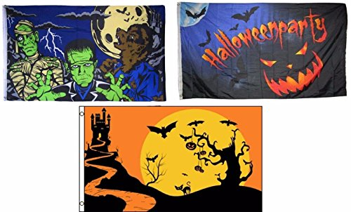 ALBATROS 3 ft x 5 ft Happy Halloween 3 Pack Flag Set #7 Combo Banner Grommets for Home and Parades, Official Party, All Weather Indoors Outdoors