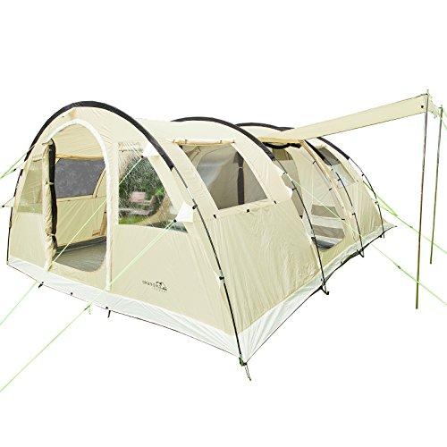 Skandika Gotland 6 Personen sand , beige, Familien-Zelt, wasserdicht durch starke 5.000 mm Wassersäule. Großes, geräumiges und robustes Outdoor Camping-Zelt, Tunnel-Zelt mit 2 Kabinen, Insekten-Netzen und über 2 m Stehhöhe
