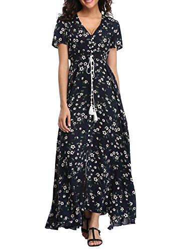 1stvital Women's Fancy Floral Print Short Sleeve Button Up Split Boho Summer Beach Maxi -