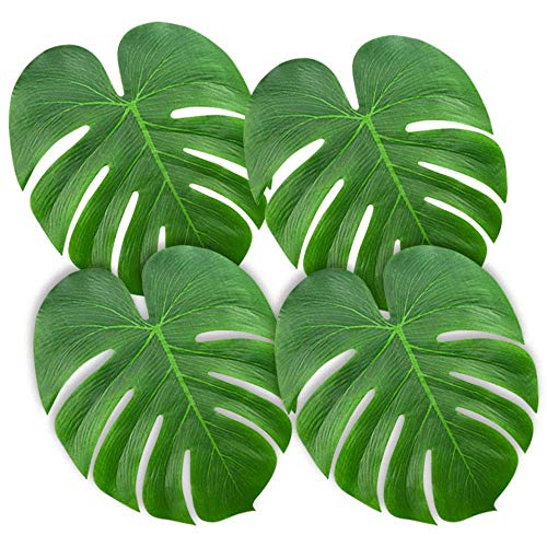 DIYARTS 90 Pcs 3 Size Artificial Tropical Leaves Lightweight Green Repeatable Hawaiian Jungle Party Beach Theme Decorations for Prom Wedding Dining Table BBQ]()