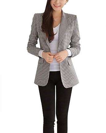 Veste Manches À Business Slim De Femme Blazer Tailleur Court ffaZw6