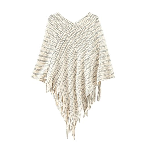 FINEJO Brown Ultra Soft Knit Diva Style Fringed Poncho Shawl Cape Wrap BE