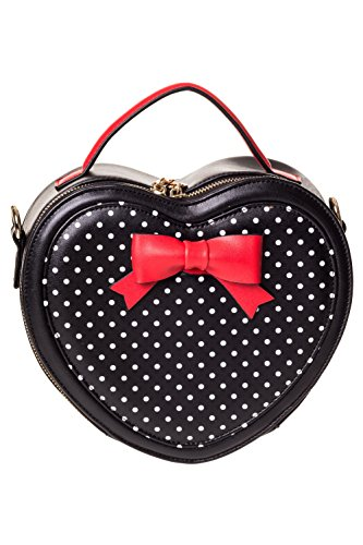 Banned Ladies Bag BBN7046 Black Red Teal Dots Handbag Heart Ribbon ...