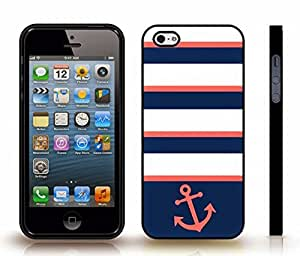 iStar Cases? iPhone 4 Case with Chevron Pattern Salmon Pink/ Dark Blue Stripe Salmon Pink Anchor , Snap-on Cover, Hard Carrying Case (Black)