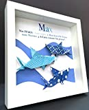 Personalized Name Origin and Meaning Baby Gift Paper Origami Sharks Shadowbox Frame Custom Art Newborn Baby Shower Nursery Wall Art Gift