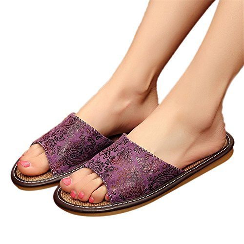 Slip Summer Velvet European Slippers Cool Indoor Home Spring Style women Floor Fall TELLW Linen Anti Fabric Couples purple Breathable Men Wooden Slippers Slippers Female xqEt1nHYOw