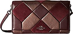 COACH Women's Canyon Quilt Mix Materials Fold-Over Crossbody DK/Oxblood/Bronze Clutch
