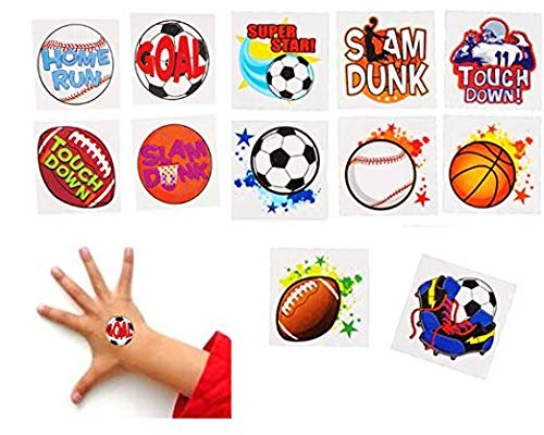 Playo Kids Sports Tattoos - Pack of 144 Childrens Fake Tattoos - Assorted Sports Theme Design Temporary Tattoos - Great Sports Party Favors