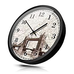 Bresto Mute 14 Inch Clock Creative Living Room Clock Tower Bridge of London World Time Zone Hotel Lobby Front Desk Clock,12 Inches (Diameter 30Cm),Tower Bridge of Londonmodern Decoration, Classic, Du