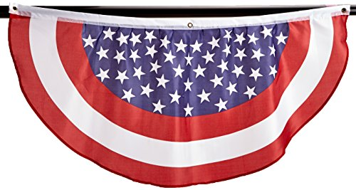 Beistle 54991-RWB Stars and Stripes Fabric Bunting, 4-Feet
