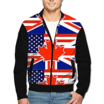 988Iron North American British Flag Men's Polyester Stand Collar Front Zip Jacket