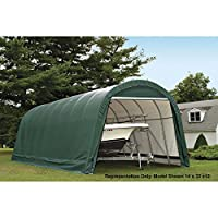 ShelterLogic 14-Ft.W Round-Style Instant Garage - 28ft.L x 14ft.W x 12ft.H, 2 3/8in. Frame, Green, Model# 95350