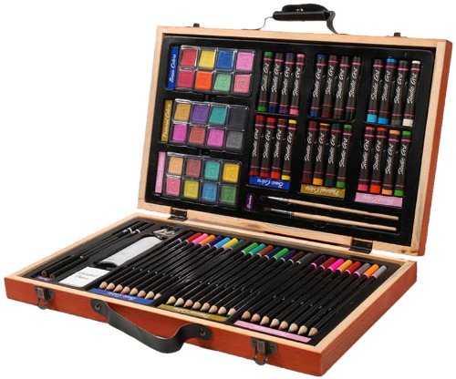 Darice 80-Piece Deluxe Art Set  Art Supplies for Drawing, Painting and More in a Compact, Portable Case - Makes a Great Gift for Beginner and Serious Artists